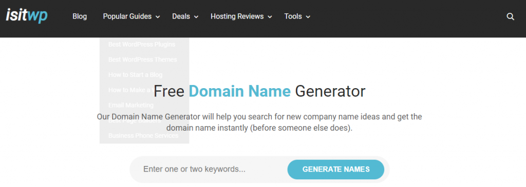 isitwp, best domain name generators