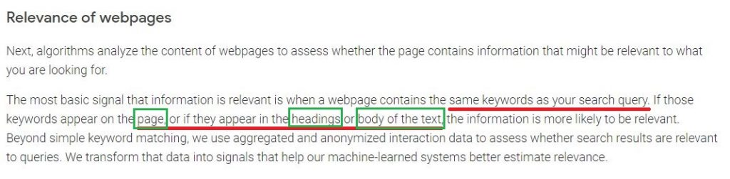 google mentioning relevance of webpages