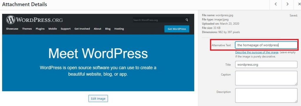 alt text for wordpress images