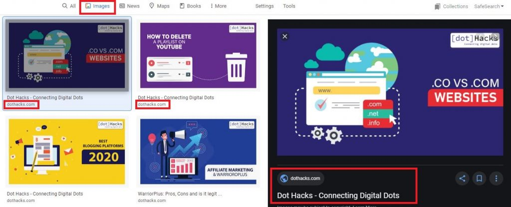a picture showing google images for dothacks.com