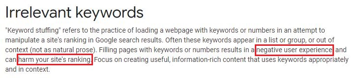 google mentioning the use of keywords