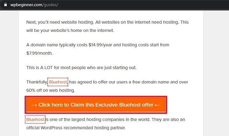 affiliate links between a post