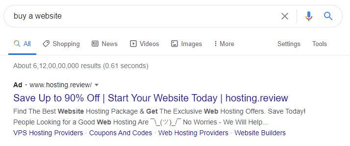 a google search to buy a website